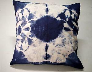 "Indian Handmade Tie Dye Shibori Cushion Cover 16""X 16"" Indigo Throw Pillows 1078"