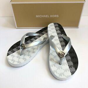 NEW Michael Kors MK Logo Flip Flop Sandals Silver Multi 7 10 11