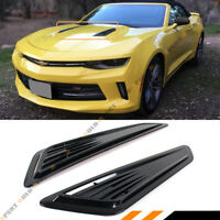 SS STYLE BLACK BONNET HOOD VENT SCOOP COVERS FOR 16-2020 CHEVY CAMARO 1LT LT RS