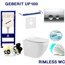 GEBERIT UP100 DELTA FRAME +FLUSH PLATE +WALL HUNG RIMLESS WC +SOFT CLOSING SEAT