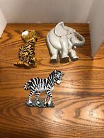 Burwood Products Wall Decor elephant tiger zebra zoo vintage  USA Set Of 3