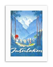 INTERLAKEN Swiss Alpine Resort Mountain albero POSTER viaggio tela art prints