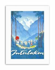 INTERLAKEN SWISS ALPINE RESORT MOUNTAIN TREE Poster Travel Canvas art Prints