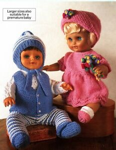 """Knitting Pattern DK Baby Dolls Clothes 12 - 22"""" Boys & Girls Outfits Premature"""