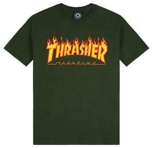 Genuine Thrasher Flame Logo T-Shirt - Forest Green