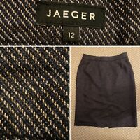Jaeger Womens Size 12 Grey Diagonal Striped Wool Blend Lined Brown Skirt