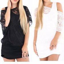 WOMENS BAGGY MESH NET LACE VEST OFF SHOULDER 2 IN 1 BATWING TOP PLUS SIZE 16-26