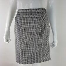New York Clothing Co. Women Size 16 Black Brown White Plaid Faux Wrap Skirt NWT