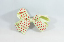 Unit of 10 Medium 3 Inch Pistachio with Small Red spots Hair Bow clip Grosgrain
