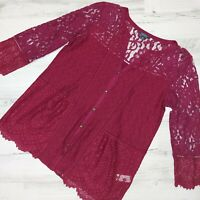 Lucky Brand Size Small Lace Button Down Blouse Top Shirt Burgundy