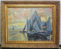 STRIKING VINTAGE WATER BOAT IMPRESSIONIST OIL PAINTING ON BOARD