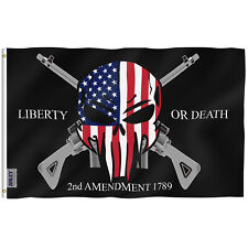 Anley 3x5 Foot Liberty or Death 2nd Amendment 1789 Flag Usa Punisher Skull Flags