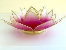 Handmade Capiz Shell Lotus Tealight Holder-Pink with Gold Trim