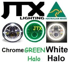 "1pr 7"" LED Chrome Headlights GREEN and WHITE Land Rover Defender 90 110 130"