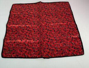BIJAN Red Printed Silk Pocket Square