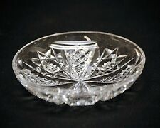 Old Vintage Heavy Cut Lead Crystal Glass Candy Nut Trinket Dish w Star Pattern