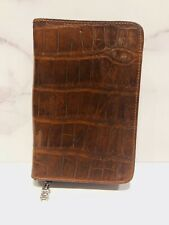 De Vecchi Brown Glossy Alligator Zip Around Address Book Planner Agenda