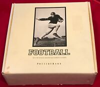 """Pottery Barn Football Theme 9 1/8"""" Round Plates Vintage B&W Pictures Set of 4"""