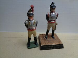 Imrie Risley, 2 x Napoleonic French Cuirassier, painted lead soldier 54mm, JL