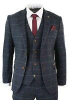 Mens Navy Blue Wine Check Herringbone Tweed Vintage 3 Piece New Marc Darcy Suit