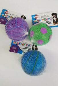 "(Set of 3) Dura-A-Brite Sportball Dog Toys 3"" Dia. Ball w/ Super Loud Squeakers"