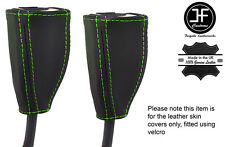 GREEN STICH 2X FRONT SEAT BELT LEATHER COVERS FITS HOLDEN COMMODORE VT VX VU WH