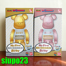 Medicom 200% Bearbrick ~ My first Be@rbrick Baby Pink Gold & Gold Silver 2p