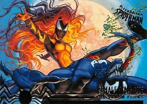 VENOM VS. FEMALE SYMBIOTE / Spider-Man Fleer Ultra 1995 BASE Trading Card #103