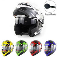Bluetooth Motorcycle Helmet Dual Visor Flip Up Modular Full Face BT Helmets DOT