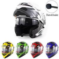 Bluetooth Motorcycle Helmet Dual Visor Flip Up Modular Full Face BT Helmets DOT
