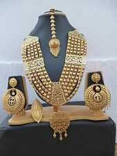 Indian 22K Gold Plated Bollywood Ethnic Wedding Fashion Necklace Earrings Set A