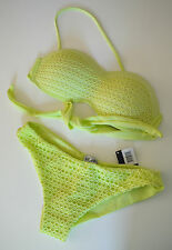 Ladies häkel-bikini Top+Panties Set Yellow netz-look S 36/38 Swimming Costume