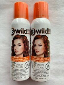 B Wild !!! Temporary Hair Color Tiger Orange Lot of 2 Spray On Wash Out