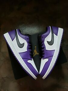Nike Air Jordan Retro 1 Low (553558-500) Court Purple DS Size 9.5 Deadstock