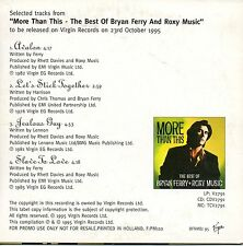 """BRYAN FERRY """"SELECTED TRACKS FROM MORE THAN THIS"""" PROMO CD MAXI / ROXY MUSIC"""