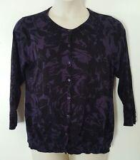 George Purple Black Floral Print 3/4 Sleeve Cardigan Sweater Plus Size XXL 2X 20