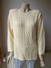 C'EST LA VIE Damen Langarm Pullover Strick Gr. S gelb gemustert Polybaumwolle