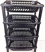 High Quality Black Plastic Fruit Vegetable Kitchen Storage Rack Trolley 4 Tier