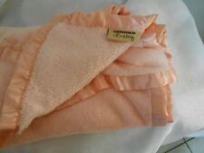 """PINK PEACH BABY LOVEY  BLANKET NORTHPOINT NORTH POINT SATIN TRIM SOFT 40X30"""""""