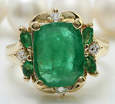 4.20CTW Natural Colombian Emerald and Diamonds in 14K Solid Yellow Gold Ring