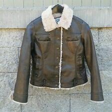 Original Me Jane Brown Faux Leather Bomber Jacket Faux Fur Lining Girls L 14/16