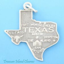 Texas State Map .925 Sterling Silver Charm Houston Dallas Austin San Antonio