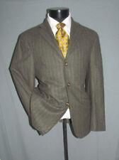 Mint David Chu Olive Gray Stripes Ticket Pkt Flannel Men Suit 38 S Italy