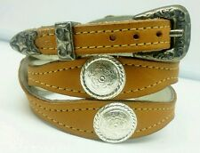 NEW TAN HATBAND Scalloped Leather w/ SILVER CONCHOS & STAR Buckle Set Hat Band
