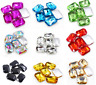 12pcs 18x27mm rectangle rhinestone crystal bead point back glass foiled pk color