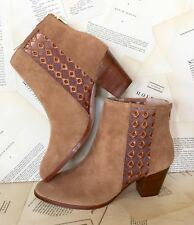 NIB Anthropologie camel Suede Sheer Embroidered Insets Back Zip Ankle Boots 10