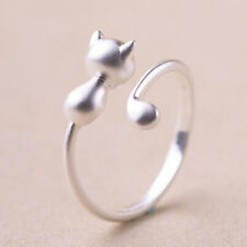 925 Sterling Silver Mini Adjustable Finger Ring Long Tail Cat Women Girl Jewelry
