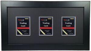 Sports Card Display Frame, (3) Cards, Portrait, Black Mat, UV Protection (option
