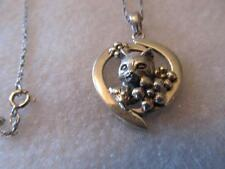 Vintage Detailed 3D Cat Sterling Silver Pendant Necklace