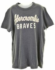 ABERCROMBIE & FITCH Boys Graphic T-Shirt Top 10-11 Years Large Grey Muscle HY29